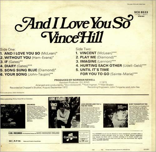 Vince Hill And I Love You So vinyl LP album (LP record) UK VH2LPAN450651