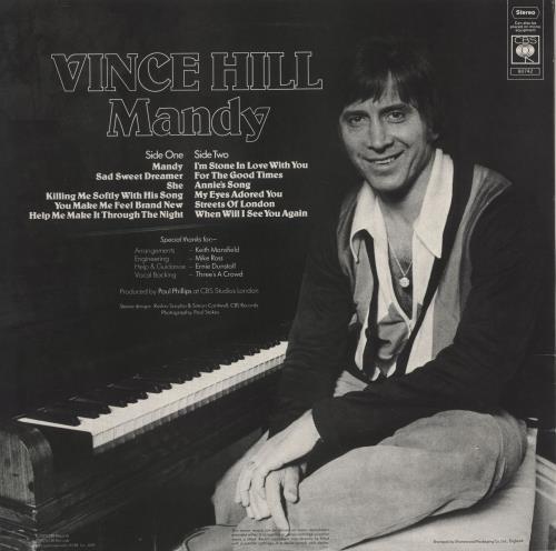 Vince Hill Mandy - Autographed vinyl LP album (LP record) UK VH2LPMA741922