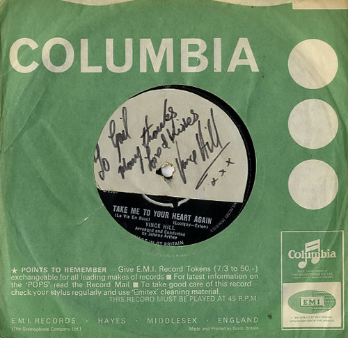 """Vince Hill Take Me To Your Heart Again - VG Autographed 7"""" vinyl single (7 inch record) UK VH207TA593567"""