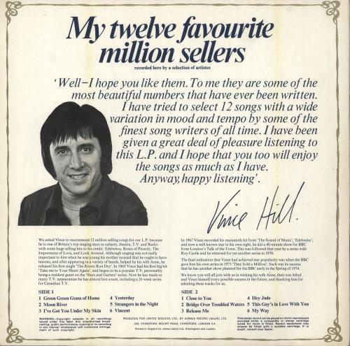 Vince Hill Vince Hill's Favourite Twelve Million Sellers vinyl LP album (LP record) UK VH2LPVI748866