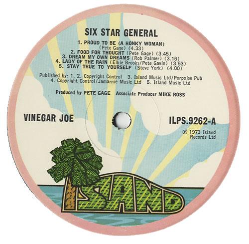 Vinegar Joe Six Star General 1st Ex Uk Vinyl Lp Album