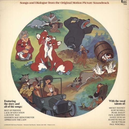 Walt Disney The Fox And The Hound picture disc LP (vinyl picture disc album) US W-DPDTH705584