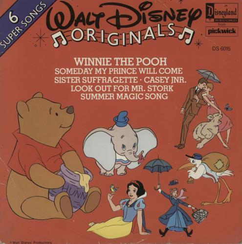 "Walt Disney Walt Disney Originals - 6 Super Songs 7"" vinyl single (7 inch record) UK W-D07WA756537"
