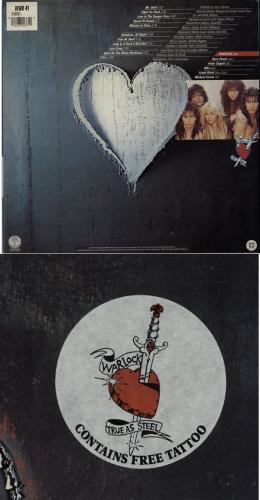 Warlock True As Steel Free Tattoo Vinyl LP Album Record UK WLKLPTR181987