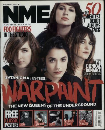 Warpaint NME - 6th November 2010 magazine UK WDRMANM644600