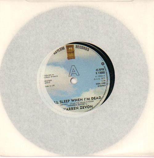 "Warren Zevon I'll Sleep When I'm Dead 7"" vinyl single (7 inch record) UK WZV07IL640226"