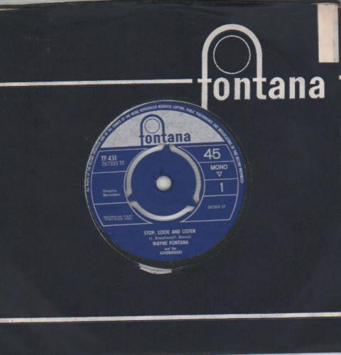 "Wayne Fontana & The Mindbenders Stop, Look And Listen 7"" vinyl single (7 inch record) UK WYF07ST655405"
