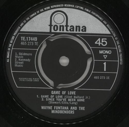 "Wayne Fontana & The Mindbenders The Game Of Love EP 7"" vinyl single (7 inch record) UK WYF07TH107388"