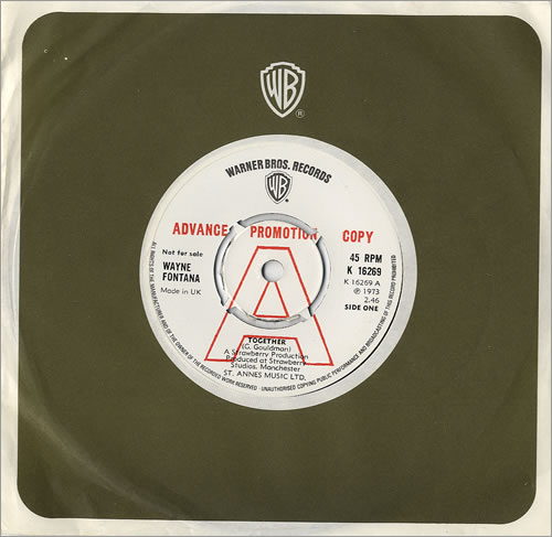 "Wayne Fontana & The Mindbenders Together 7"" vinyl single (7 inch record) UK WYF07TO481542"