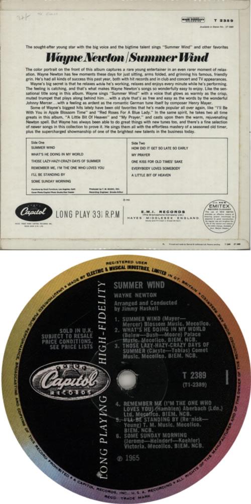 Wayne Newton Summer Wind vinyl LP album (LP record) UK 6WNLPSU618544