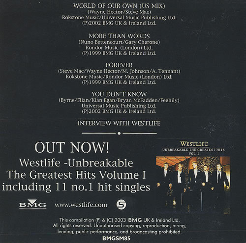 "Westlife Unbreakable The Greatest Hits Volume 1 CD single (CD5 / 5"") UK WLIC5UN458581"