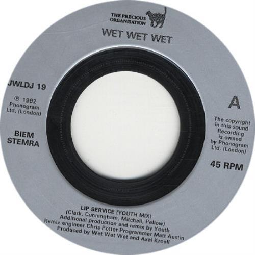 "Wet Wet Wet Lip Service - silver label issue 7"" vinyl single (7 inch record) UK WET07LI234047"