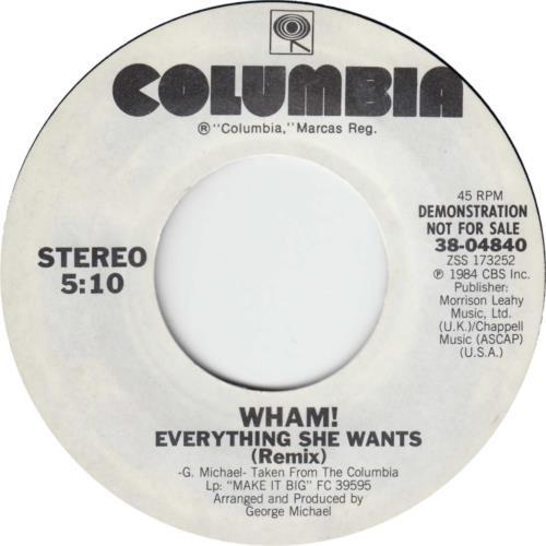 "Wham Everything She Wants 7"" vinyl single (7 inch record) US WHA07EV20851"