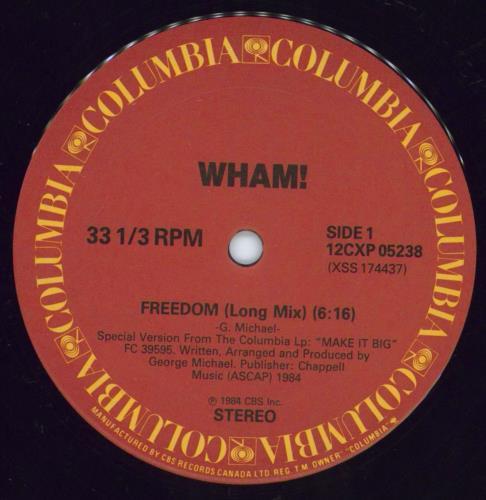 "Wham Freedom 12"" vinyl single (12 inch record / Maxi-single) Canadian WHA12FR263581"