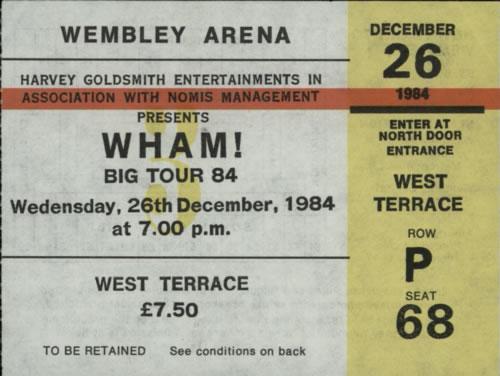 Wham The Big Tour + Merch Insert & Ticket Stub tour programme UK WHATRTH121110