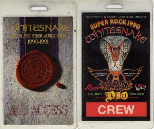 Whitesnake Liqour And Poker World Tour 1990-1991 tour pass UK WHITPLI556741