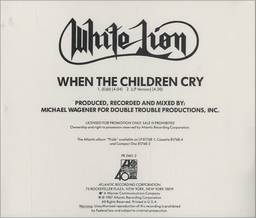 White Lion When The Children Cry US Promo CD single (CD5 / 5