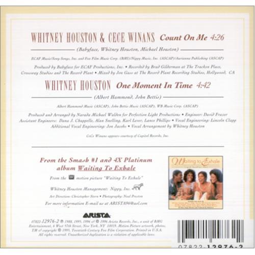 Whitney Houston Count On Me 2 Track Us Cd Single Cd5