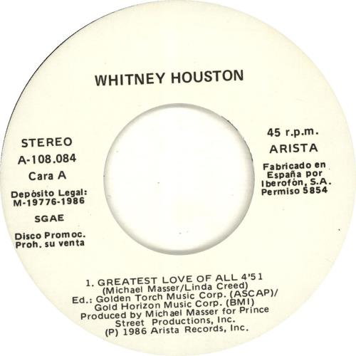 "Whitney Houston Greatest Love Of All 7"" vinyl single (7 inch record) Spanish HOU07GR60394"