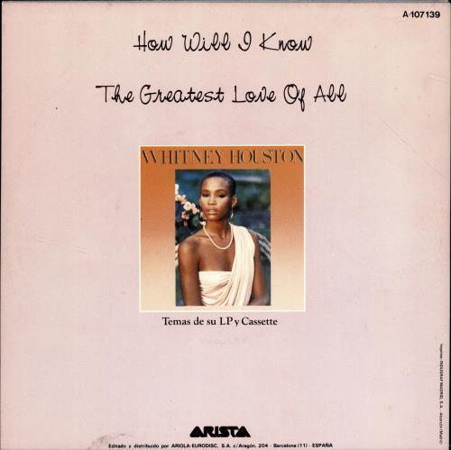 "Whitney Houston How Will I Know 7"" vinyl single (7 inch record) Spanish HOU07HO689615"