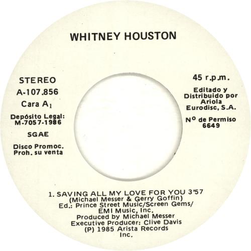 "Whitney Houston Saving All My Love For You 7"" vinyl single (7 inch record) Spanish HOU07SA170069"