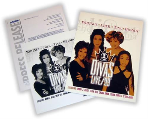 Whitney Houston VH1 Divas Live/99 media press pack US HOUPPVH157280