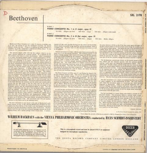 Wilhelm Backhaus Beethoven: Piano Concerto No.1 / Piano Concerto No.2 - EX vinyl LP album (LP record) UK XYOLPBE735415