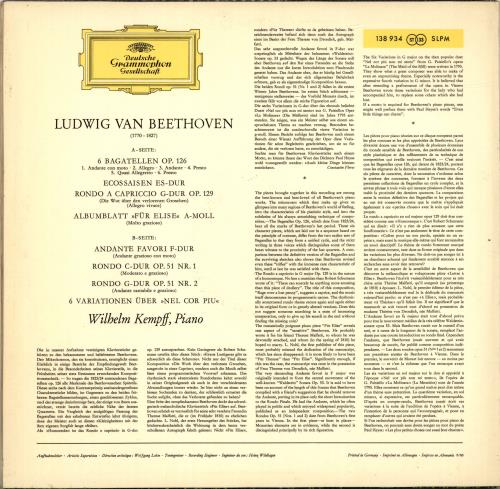 Wilhelm Kempff Beethoven: Bagatelles vinyl LP album (LP record) German W2LLPBE689520