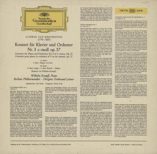 Wilhelm Kempff Beethoven: Klavierkonzert Nr. 3 C-moll Op. 37 vinyl LP album (LP record) German W2LLPBE750117