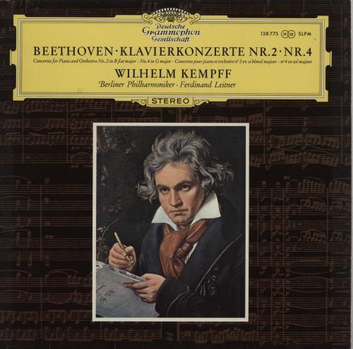 Wilhelm Kempff Beethoven: Klavierkonzerte Nr.2  & Nr. 4 - Small tulip label vinyl LP album (LP record) German W2LLPBE750603