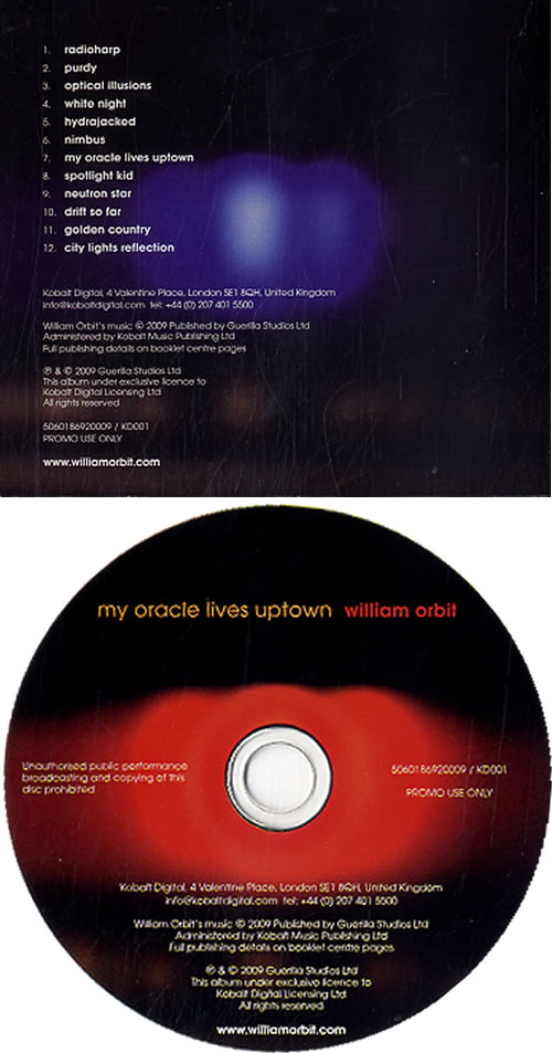 William Orbit My Oracle Lives Uptown CD album (CDLP) UK WLMCDMY622755