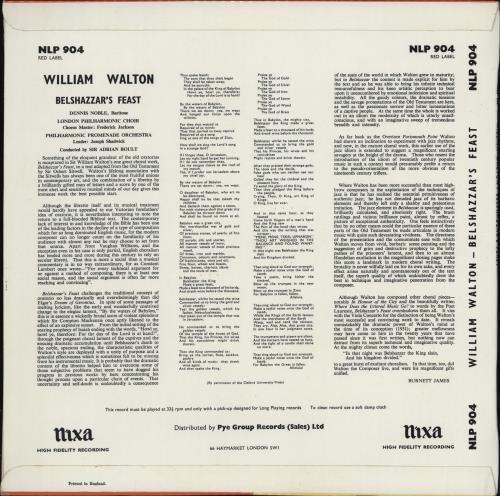 William Walton Belshazzar's Feast vinyl LP album (LP record) UK WCFLPBE765126