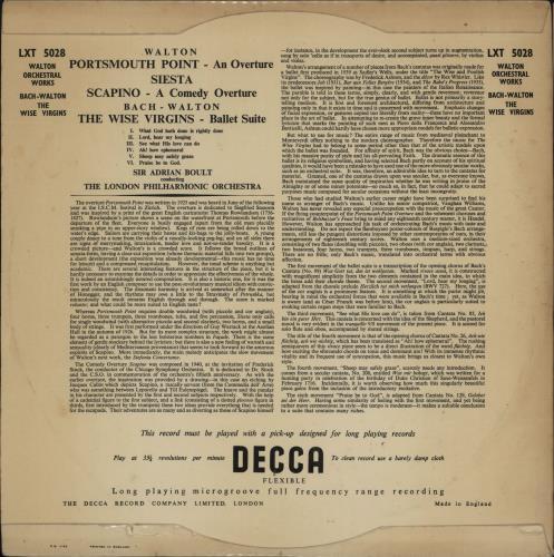 William Walton Portsmouth Point Overture / Siesta / Scapino Overture / The Wise Virgins vinyl LP album (LP record) UK WCFLPPO750619
