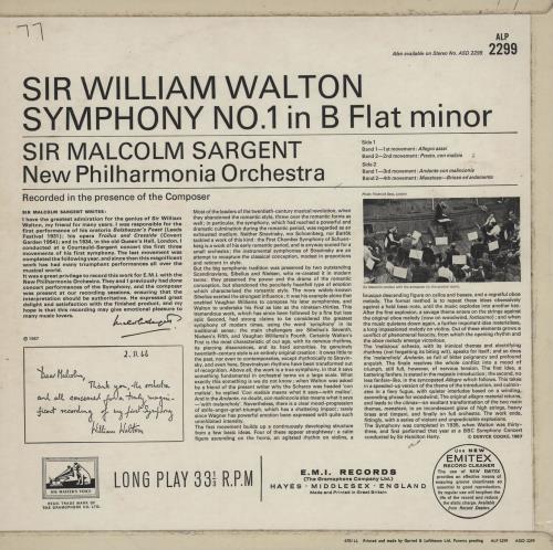 William Walton Symphony No. 1 in B Flat Minor vinyl LP album (LP record) UK WCFLPSY759610