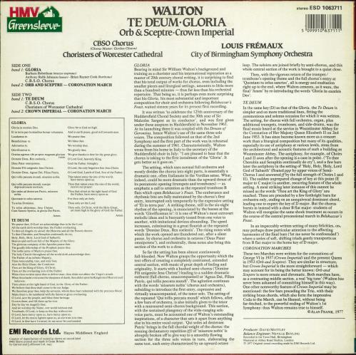 William Walton Te Deum / Gloria / Orb & Sceptre / Crown Imperial vinyl LP album (LP record) UK WCFLPTE769773