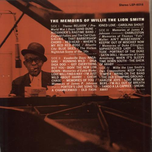 """Willie (The Lion) Smith The Memoirs Of Willie """"The Lion"""" Smith 2-LP vinyl record set (Double Album) US WLN2LTH768739"""