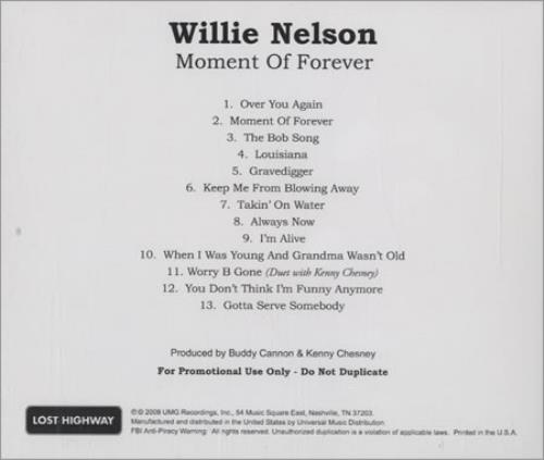 Willie Nelson Moment Of Forever CD-R acetate US WNLCRMO429714