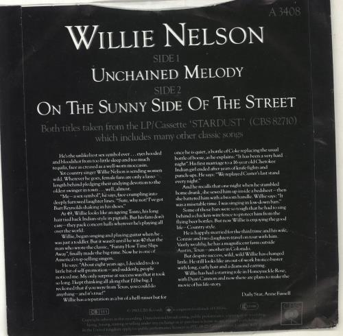 """Willie Nelson Unchained Melody 7"""" vinyl single (7 inch record) UK WNL07UN703635"""