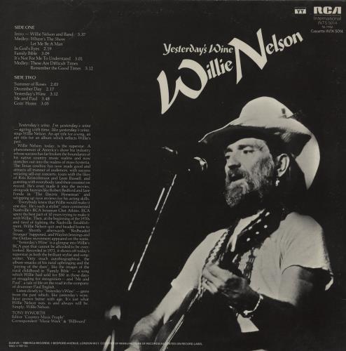 Willie Nelson Yesterday's Wine vinyl LP album (LP record) UK WNLLPYE759327