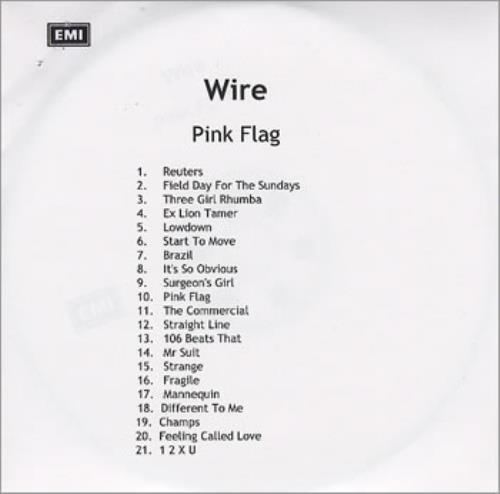 Wire Pink Flag / Chairs Missing / 1 5 4 UK CD-R acetate