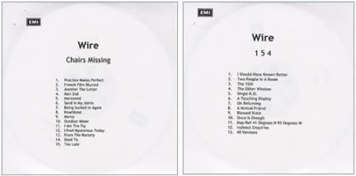 Wire Pink Flag / Chairs Missing / 1 5 4 UK CD-R acetate (355387)