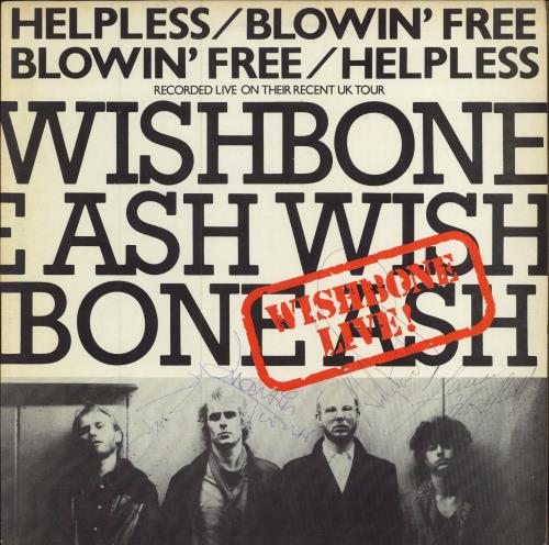 "Wishbone Ash Helpless / Blowin' Free - Autographed 12"" vinyl single (12 inch record / Maxi-single) UK WSH12HE756190"