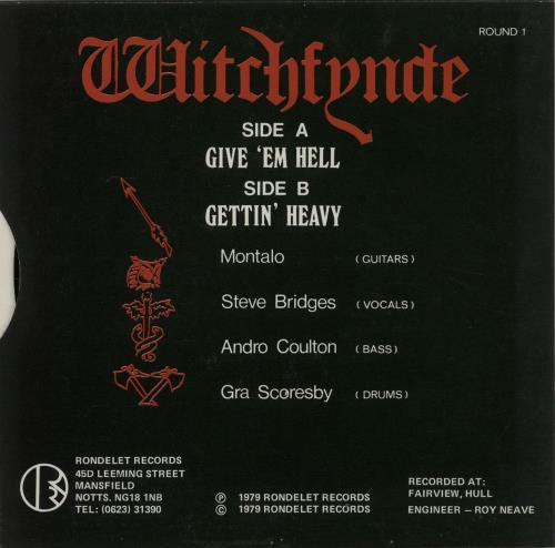 """Witchfynde Give 'em Hell 7"""" vinyl single (7 inch record) UK WIT07GI05650"""