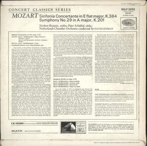 Wolfgang Amadeus Mozart Sinfonia Concertante, K.364 / Symphony No.29 in A, K.201 vinyl LP album (LP record) UK WZMLPSI711137