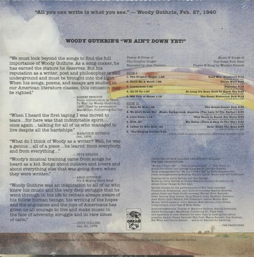 "Woody Guthrie Woody Guthrie's ""We Ain't Down Yet' - Sealed vinyl LP album (LP record) US WDGLPWO717770"
