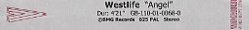 Westlife Angel video (VHS or PAL or NTSC) UK WLIVIAN207212