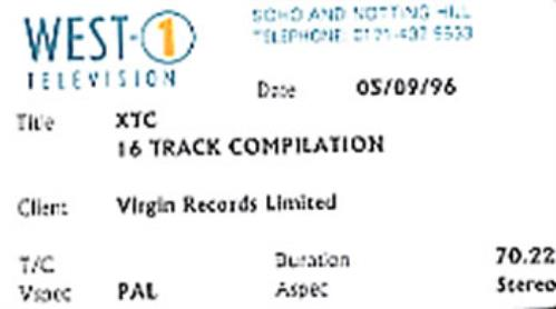 XTC 16 Track Compilation video (VHS or PAL or NTSC) UK XTCVITR340189