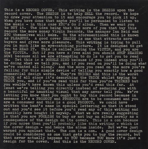 XTC Go 2 vinyl LP album (LP record) UK XTCLPGO775054