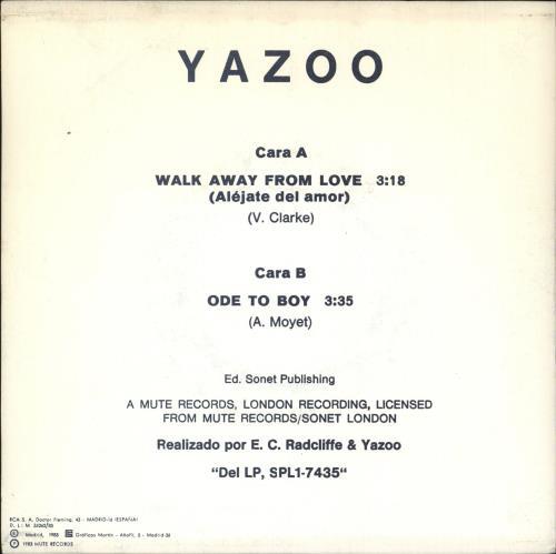"""Yazoo Alejate Del Amor 7"""" vinyl single (7 inch record) Spanish YAZ07AL59413"""