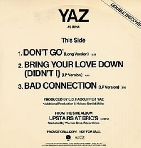 "Yazoo Don't Go 12"" vinyl single (12 inch record / Maxi-single) US YAZ12DO26177"